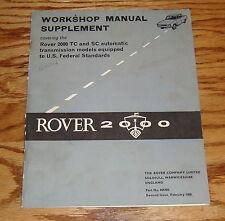 Original 1968 Rover 2000 Shop Manual Supplement TC & SC Automatic Transmission