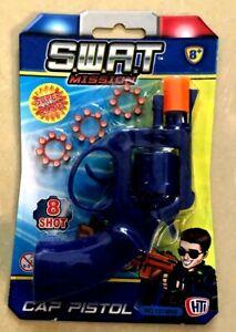 SWAT 8- SHOT CAP PISTOL GUN WITH 24-SHOT CAP RINGS PLASTC TOY REVOLVER KIDS 8+