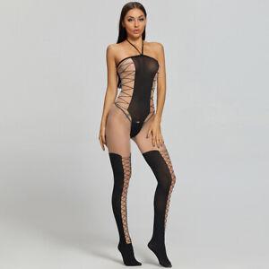 Glamour Sexy Cross Strap Erotic Lingerie Sleepwear Clear Bodysuits Bodystockings