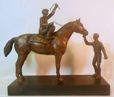 Vtg Bronzed Metal Sculpture Figure Race Horse Jockey Trainer