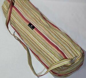 """Hugger Mugger multicolor thatched yoga mat carry bag Zip sling travel case 27"""""""