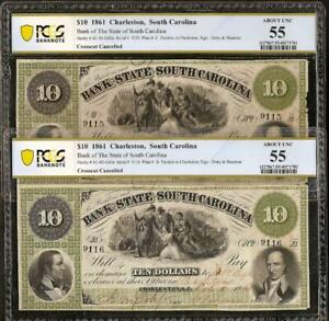 2 CONS 1861 $10 SOUTH CAROLINA BANK NOTES LARGE CURRENCY PAPER MONEY PCGS 55