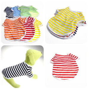Summer Stripe Pet Puppy Small Dog Cat Pet Clothes Vest T Shirt Apparel Various