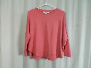 Workshop Junior Womens Girls Dolman Batwing Sweatshirt Size S Pink Open Sides
