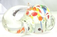 """Clear Elephant Head Clear Blue Red Paperweight Art Glass 4 1/4""""Lx 3 3/4""""x3 3/8"""