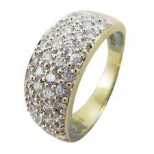 9ct Yellow & White Gold White Round Cubic Zirconia Four Row Bombay Ring Eternity