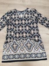 Wallis Tunic Dress. Size Large. Tile Print.Pockets Easywear. Non Iron.
