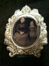 Vintage Tintype Small Photo In Heavy Metal Frame #757