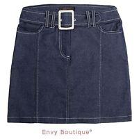 New Womens Ladies Denim Blue Belted Summer Mini Skirt Short Jeans