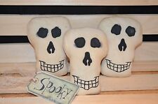 3 Grungy Muslin SKULL Ornies Primitive Bowl Fillers Halloween Hang Tag Tucks
