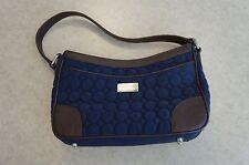 Vera Bradley Shoulder Bag Wildwood Park Microfiber w/ Brown Leather Classic Navy