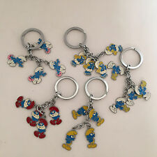 5X The Smurfs Keyring Clumsy Smurfette Smurf Papa Metal Key Chain Ring Lovely