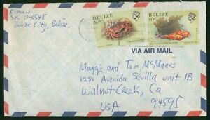 MayfairStamps Belize 1987 Belize City to Walnut Creek California Air Mail Cover