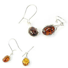 Stunning 100% Baltic Amber Drop Style 925 Sterling Silver Earrings in 2 colours