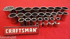 """CRAFTSMAN Socket Set 1/2"""" drive MM METRIC 12pt 24pcs LASER ETCHED"""