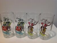 4 Vtg Anchor Hocking Gay Nineties Bar Cocktail Glass Tumblers Bicycle, Gas Buggy