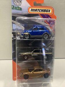'20 Matchbox MBX Highway 3 Pack (Porsche Cayman, Ford Mustang & Fiat 500X) New