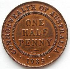 "1933 Australia One Half Penny Coin KM#22 ""High Grade Coin"" SB5558"