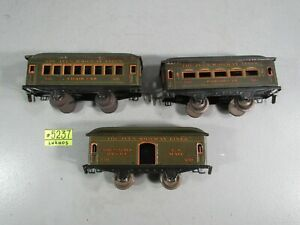 Ives Prewar  Passenger cars  #552 PARLOR CAR,551 CHAIR CAR &550 US MAIL CAR
