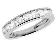 Ladies 10K White Gold Genuine Diamonds Channel Wedding Band Ring 1.0ct 4MM