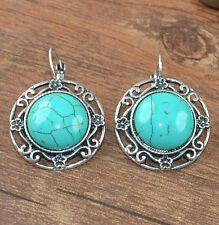 Pretty New Tibetan Silver Turquoise Round Artesian Dangle Drop Earrings