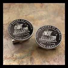 New Cufflinks Modern Lewis Clark Expedition Nickel 5 Cent Coin Boat Ship N23