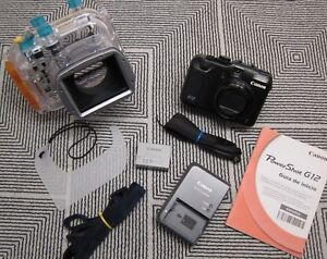 Canon PowerShot G12 Camera & Original Canon WP-DC34 Underwater Housing Excellent