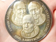 1969 First USA Landing on Moon 3 Astronauts Silver Medal 50mm 34grams #PE1