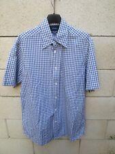 Chemise Façonnable Classique bleu blanc carreaux manches courtes 40 15 3/4