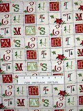Holiday Magic Fabric - Metallic Christmas Letters Block Cream - Benartex YARD