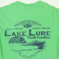 Comfort Colors Lake Lure NC T-Shirt SMALL Green Livin' On Lake Time Boat Soft