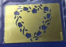 Solid Brass Heart Wreath Of Posies Mini Template For Stenciling Embossing