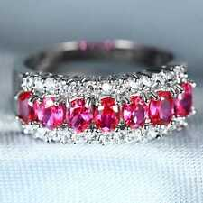 QCNL18 Handmade 3.20CT Natural Ruby 14K White Gold Ring Size US 7