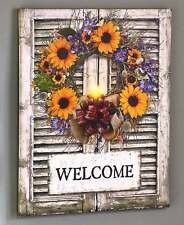 Country Sunflower Lighted Welcome Sign Rustic Farmhouse Shutter-Style Canvas