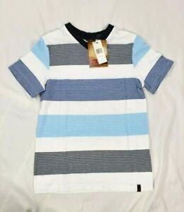 Burnside Boy's Black White & Blue Striped Short-Sleeve Tee Shirt, Small 6/7
