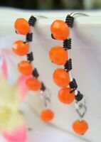 ORANGE Crystal Silver Marquise Dangle Earrings Artisan BLACK Wire USA HANDMADE