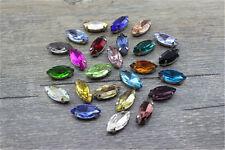 50pcs Sew On 5x10mm navette crystal cut glass bead rhinestone DIY dress making