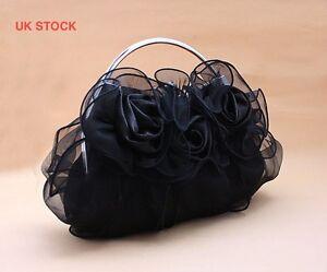 UK flower satin lace evening clutch wedding prom bridal bag handbag purse 8rrr