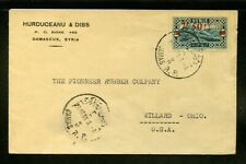 Syria Syrie 1931 cover Damascus to Pioneer Rubber company Willard, OHIO