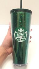 Starbucks HOLIDAY 2019 Glitter Green Acrylic Cold Cup Tumbler With Straw NEW