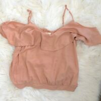 Elodie Anthropologie Womens Peach Cold Shoulder Top Size Large Ruffle Boho Shirt