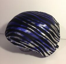 Ski & Sport Helmet cover by Shellskin. Purple/Silver Zebra print Spandex.1 Size