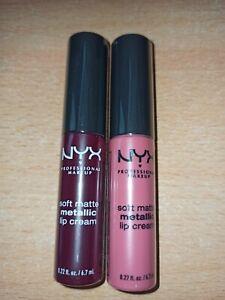 2x NYX soft matte metallic lip cream