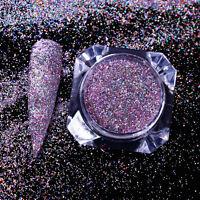 Holographic Laser Nail Art Glitter Powder Shimmer Dust Purple Chrome Pigments