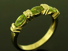 R223 LOVELY 9K Solid Yellow Gold NATURAL Peridot Eternity Three-stone Ring sz O