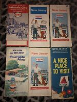 Lot of 6 Vintage New Jersey Road Maps, Esso, Gulf, Exxon, Citgo