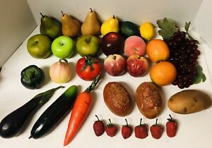 Artificial Faux Fruit Vegetables Bread Lot Of 31 For Display Or Prop