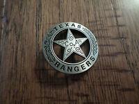 SILVER TEXAS RANGER COA SHERIFF WESTERN STYLE BADGE PIN BACK POLICE MARSHALL PIN