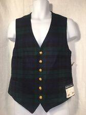Polo Ralph Lauren 100% Wool Gold Button Plaid Vest jacket Mens 42 Long NEW VTG