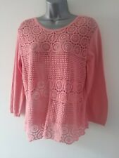 George 12 carnation pink 100% cotton thin knit & lace beautiful 3/4 sleeve top
